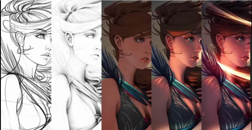 女人头像绘画过程【CG教程】